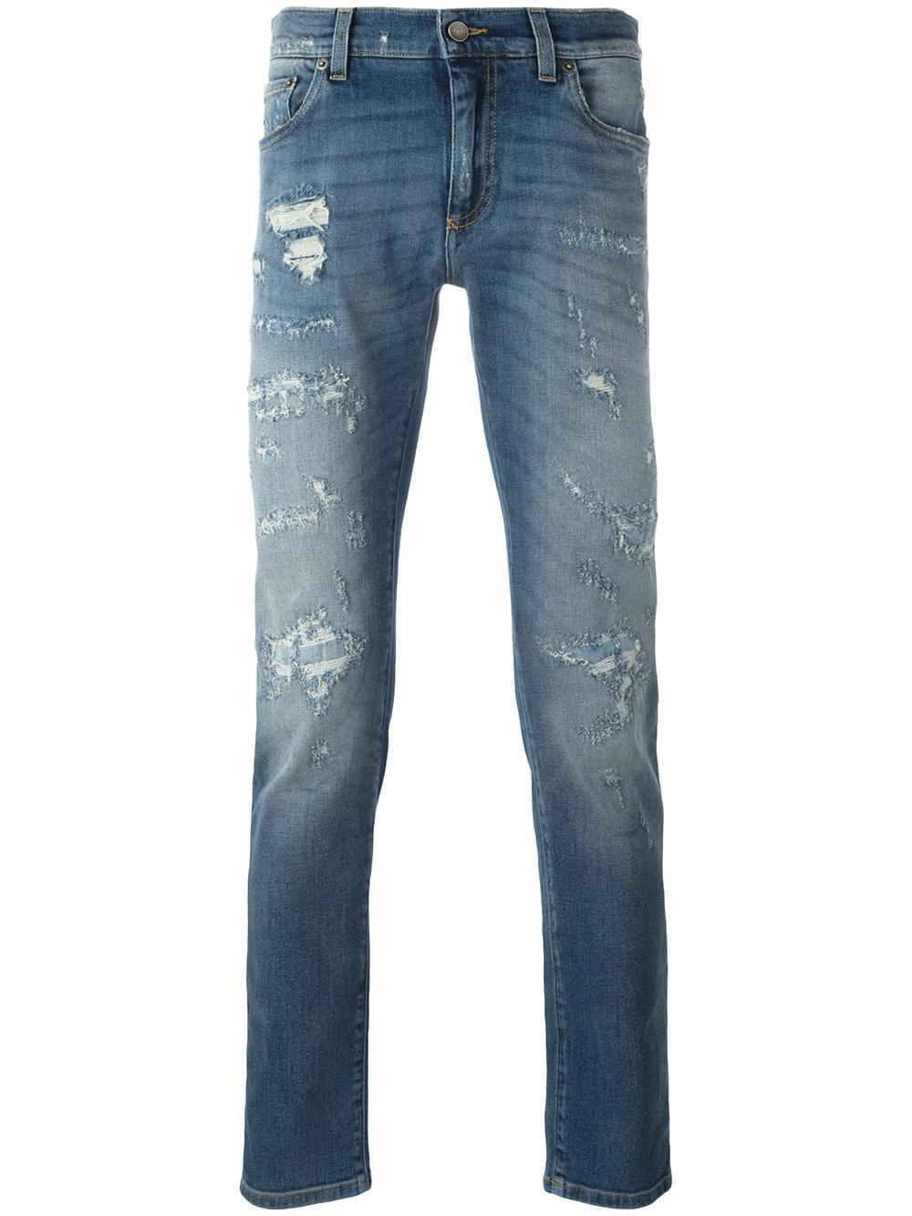 dolce gabbana distressed jeans in blue for men lyst. Black Bedroom Furniture Sets. Home Design Ideas