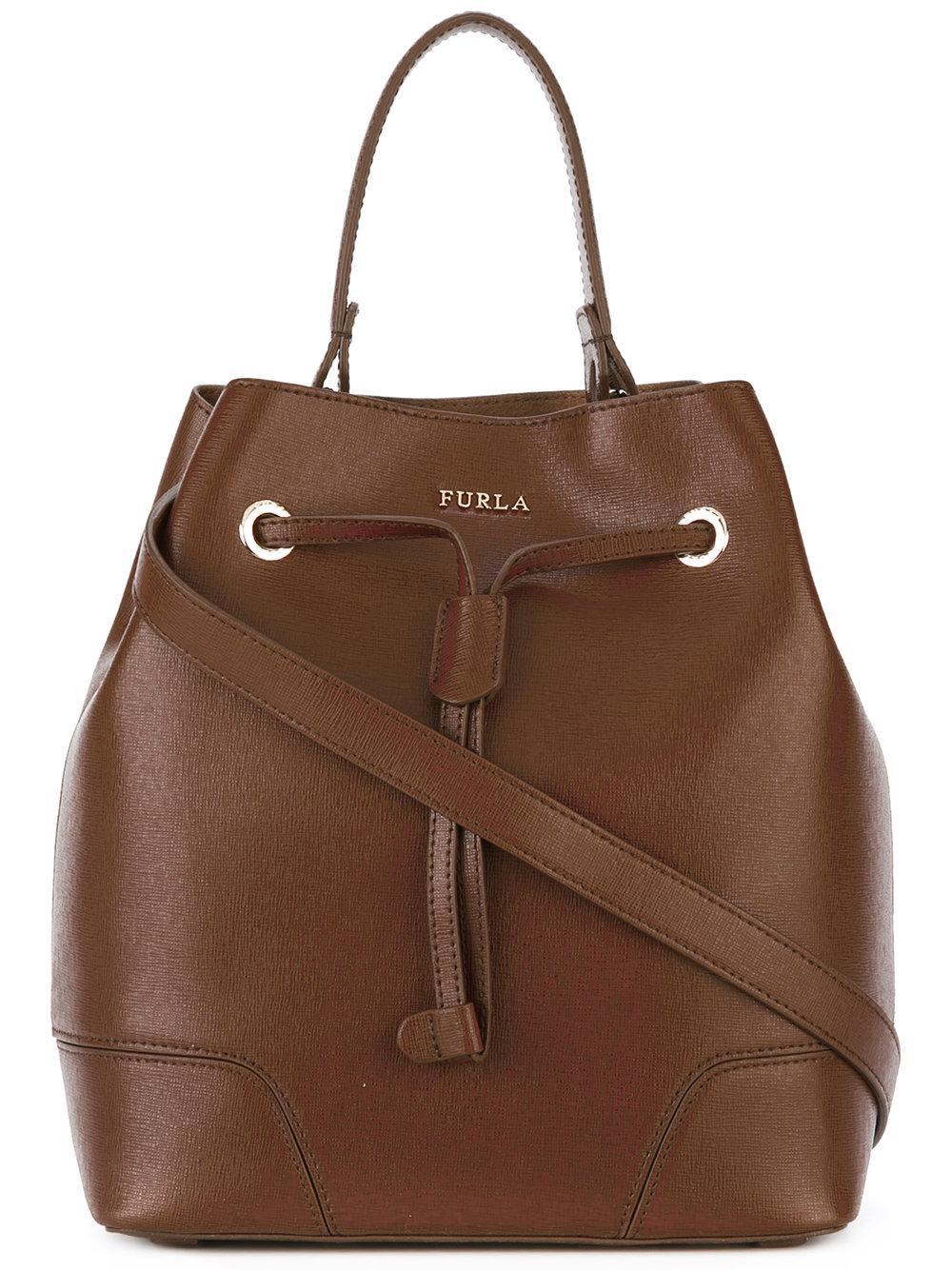 Lyst Furla Bucket Bag With Drawstring Fastening In Brown