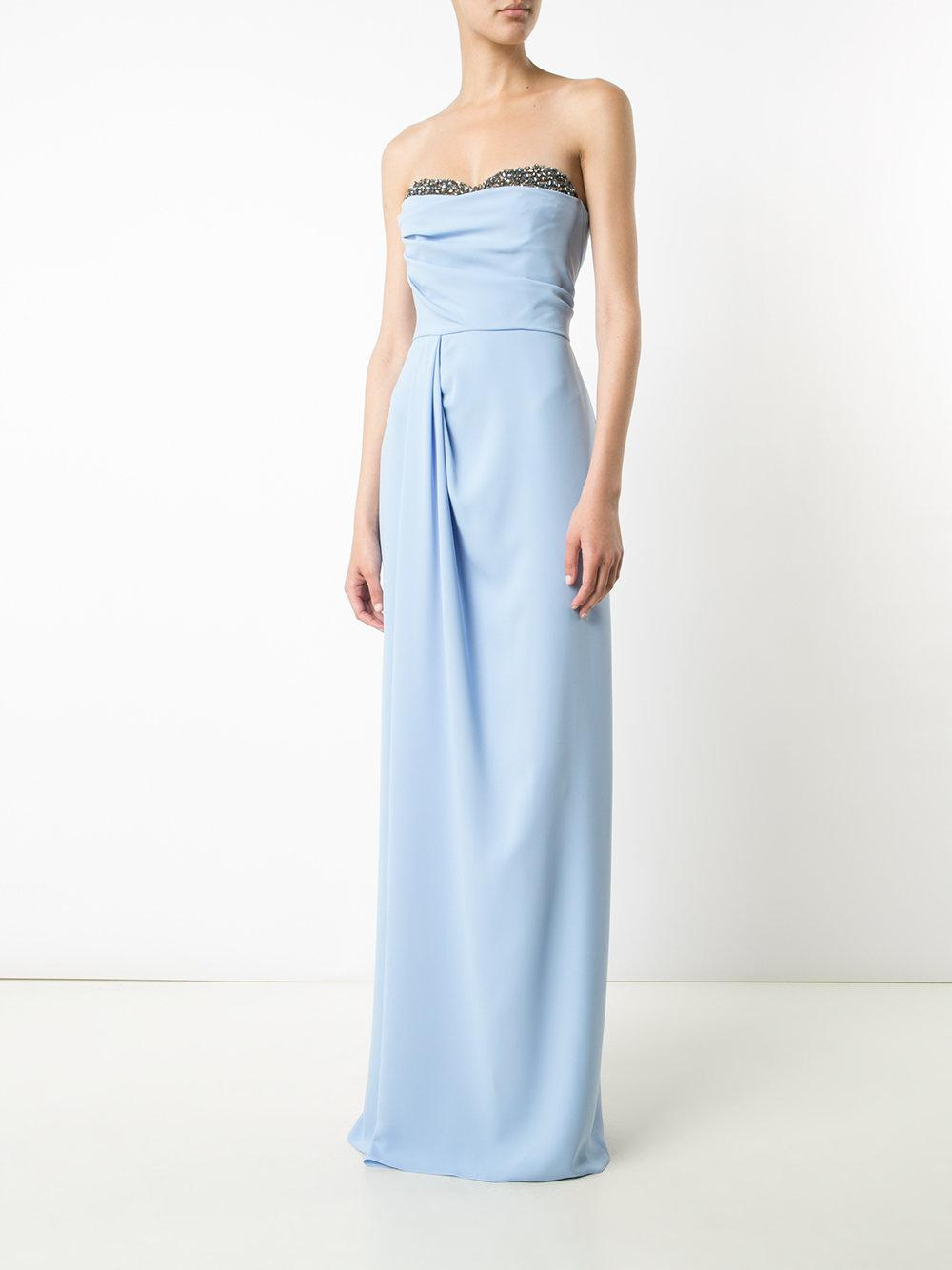 lyst notte by marchesa fitted maxi dress in blue