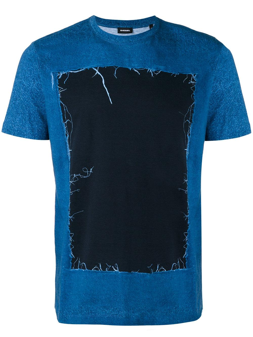Diesel distressed detail t shirt in blue for men lyst for Custom t shirts distressed