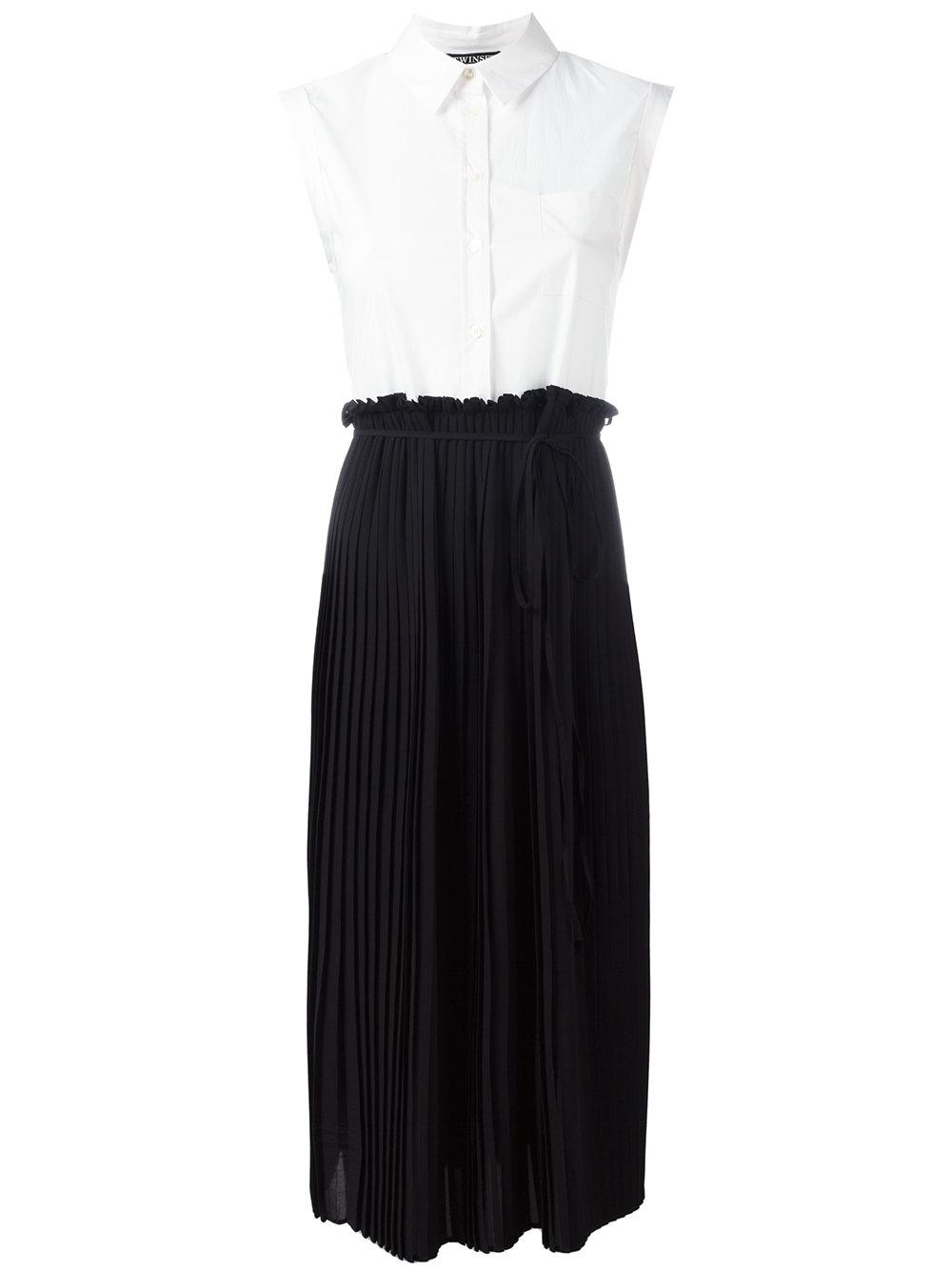 Twin set pleated shirt top dress in black lyst for Black pleated dress shirt