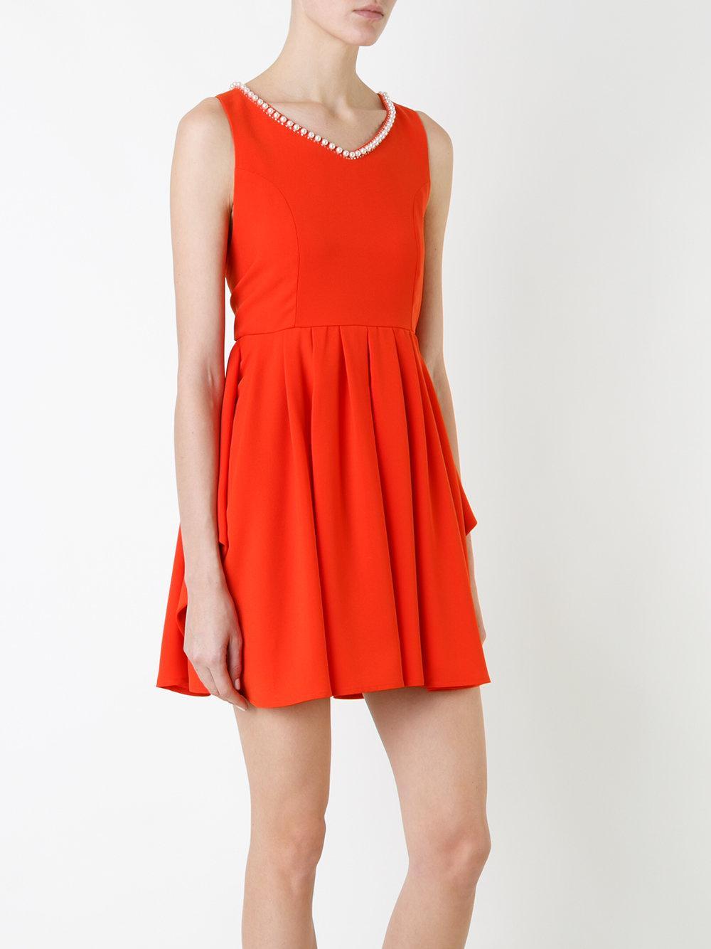 Loveless Pleated Trim Dress In Red Lyst