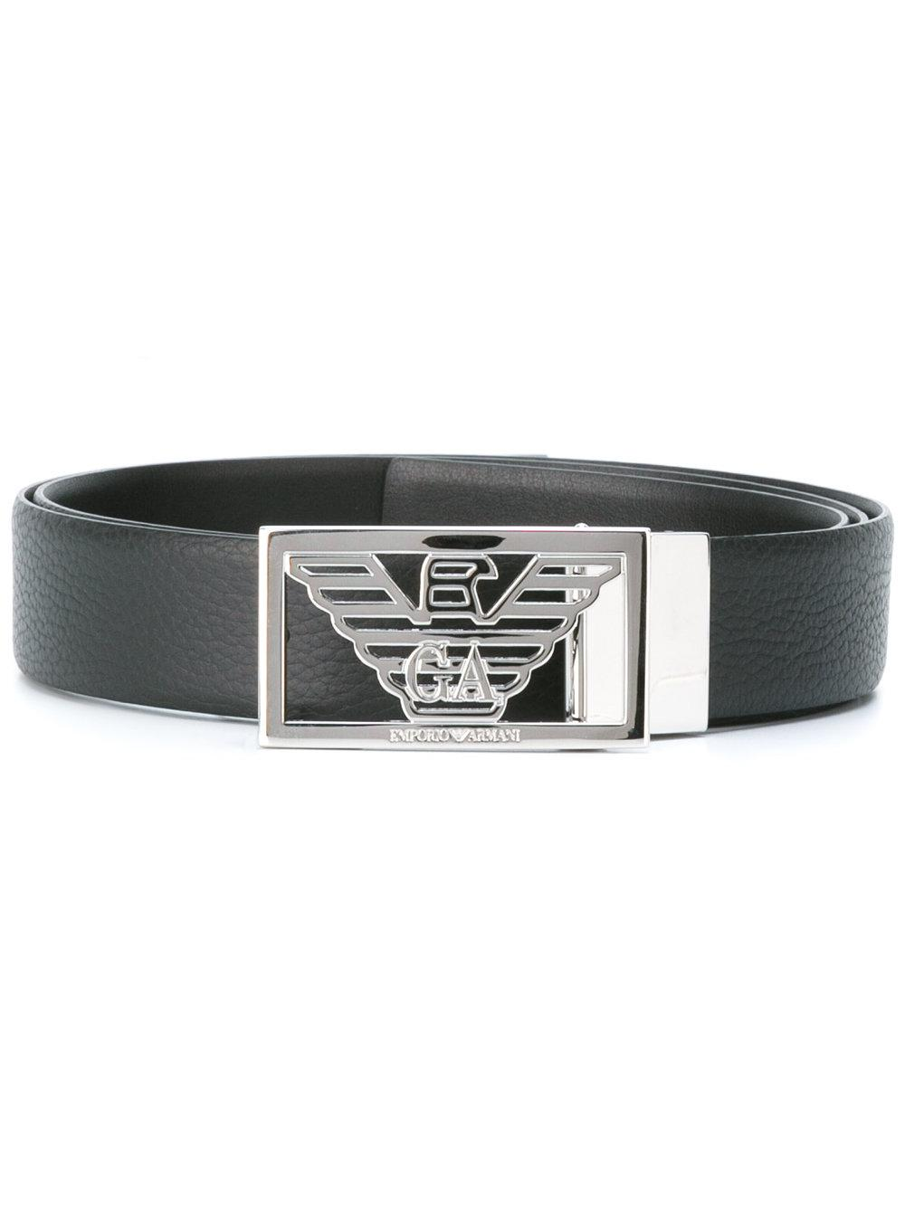 Emporio armani Logo Buckle Belt in Black for Men   Lyst