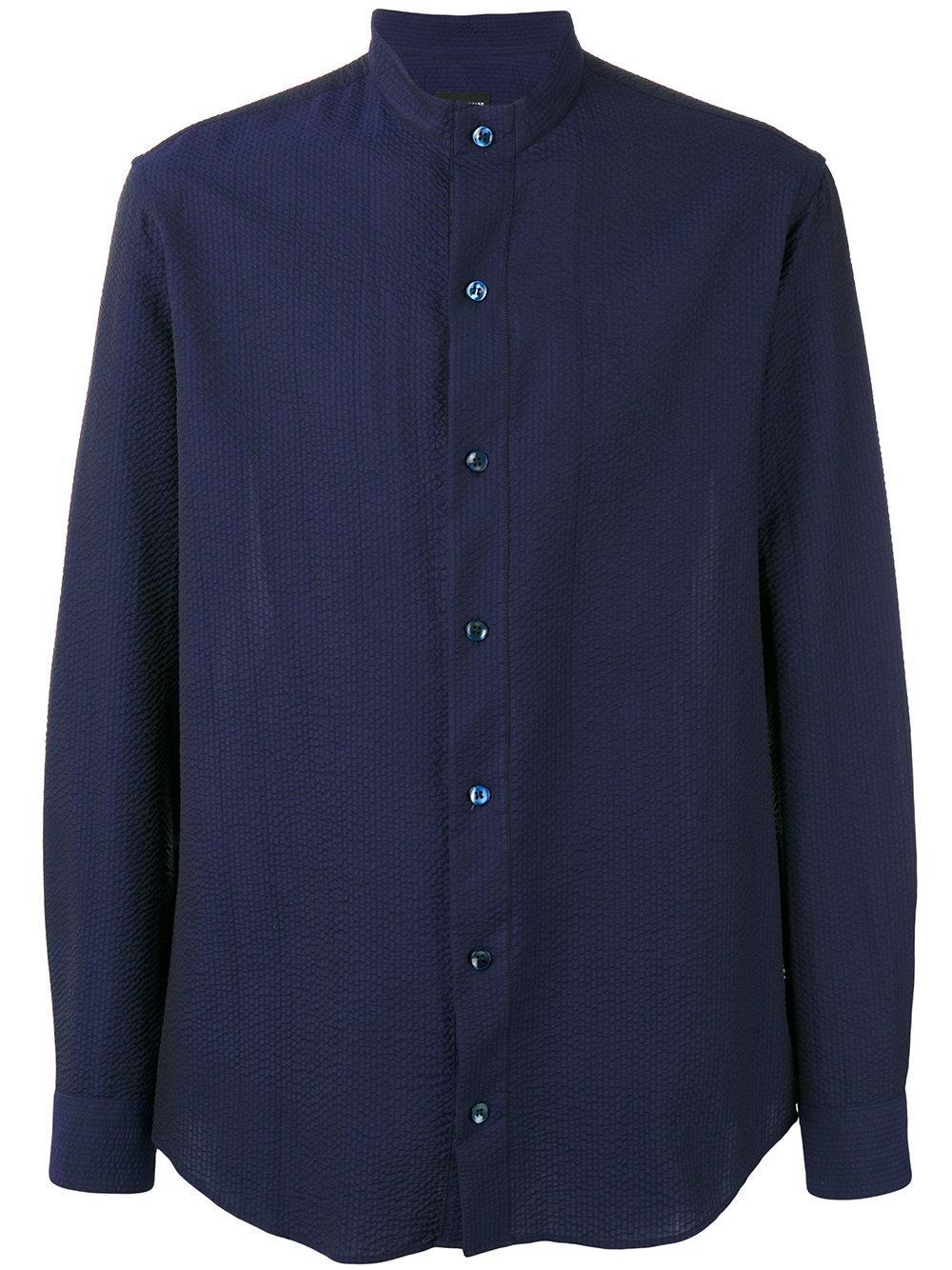 Giorgio armani seersucker mandarin collar shirt in blue for Chinese collar shirts for men