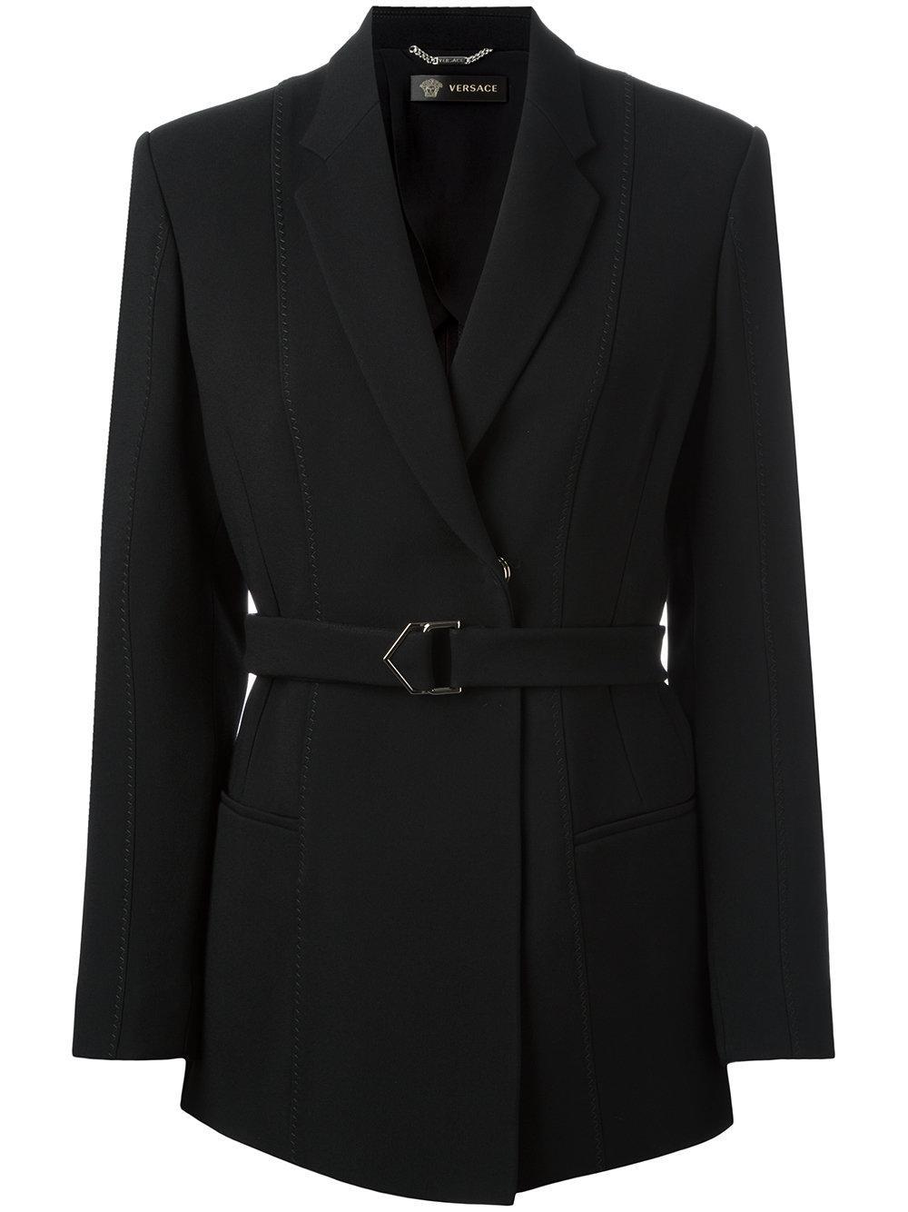 Lyst Versace Waist Tie Blazer In Black