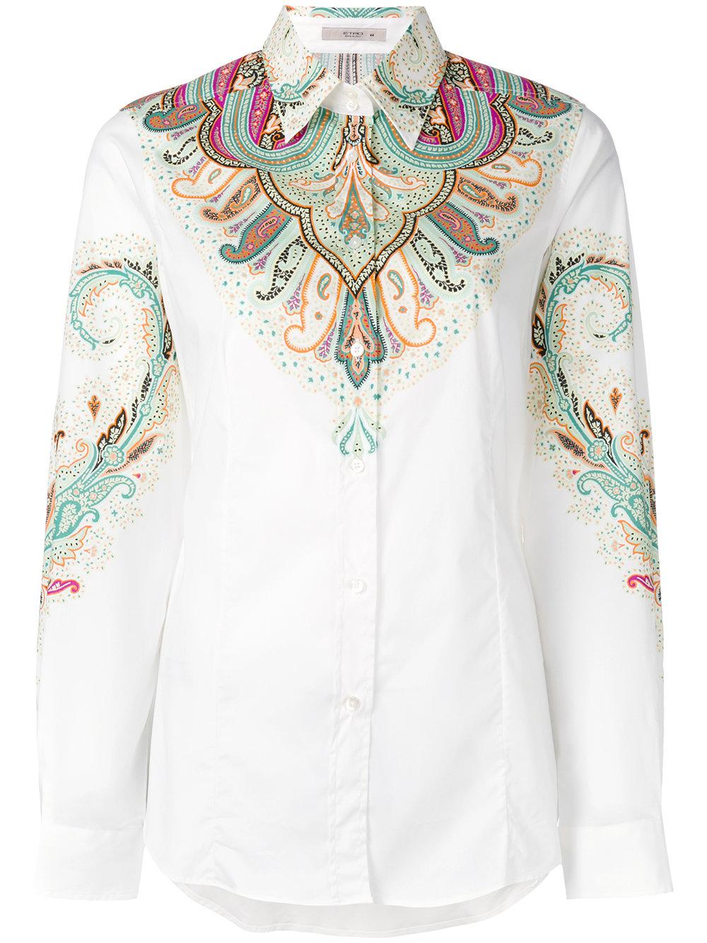 Lyst etro paisley print shirt women cotton spandex for Cotton and elastane t shirts