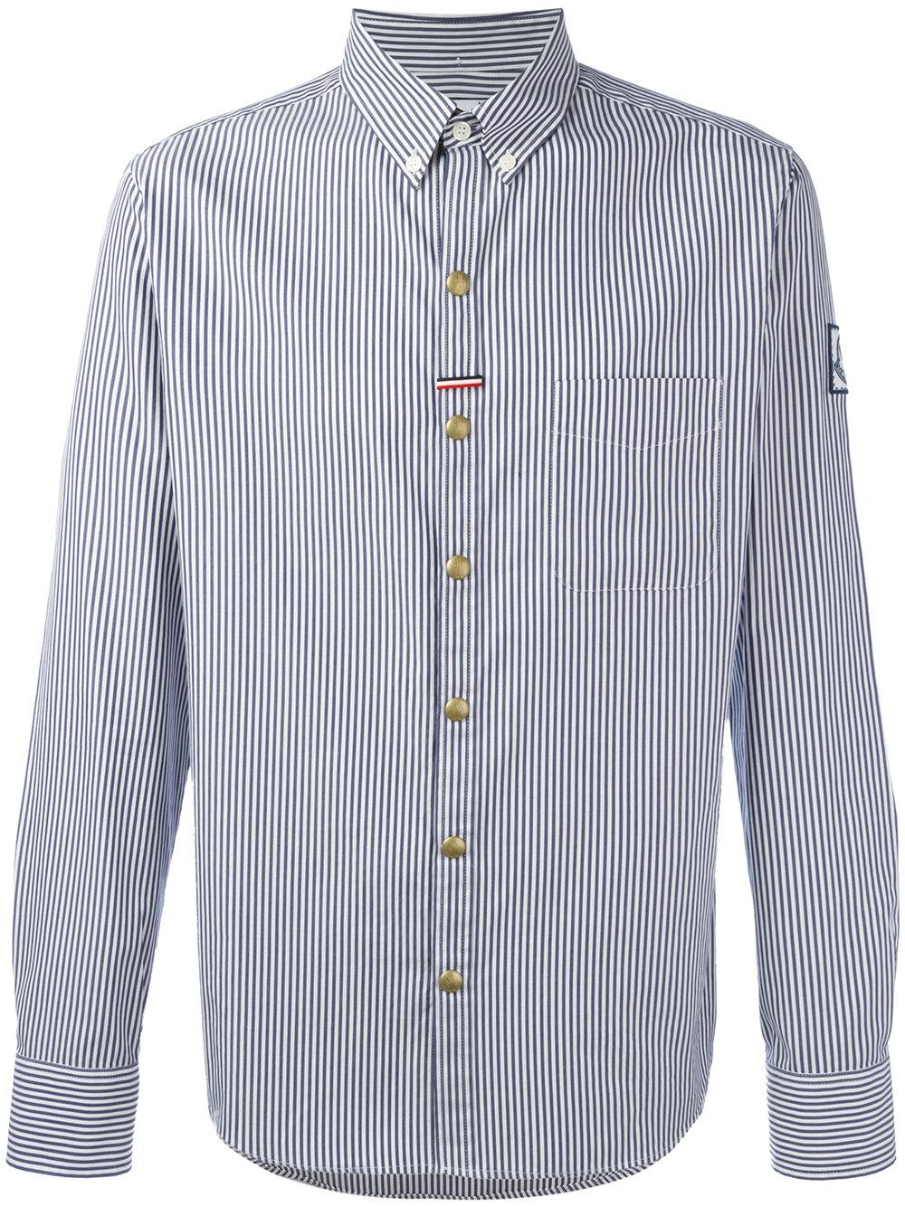 Moncler grenoble striped button down shirt in blue for men for Striped button down shirts for men