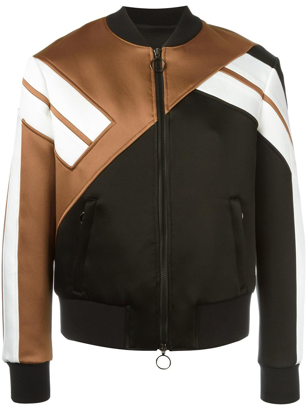 Panelled Colour Block Design And A Front Zip Fastening Color Black