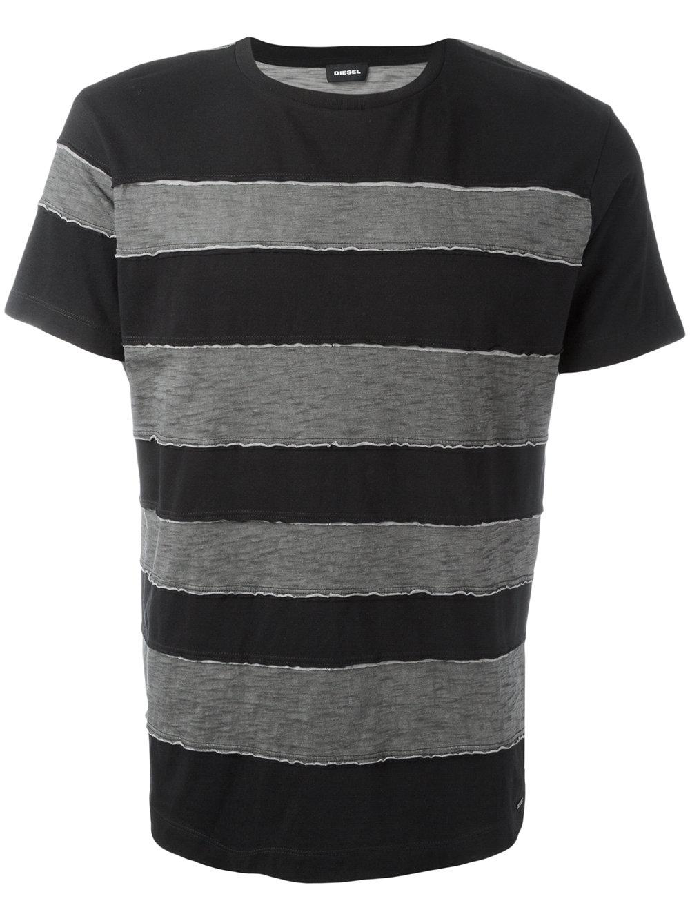 Diesel striped t shirt in gray for men lyst for Grey striped t shirt