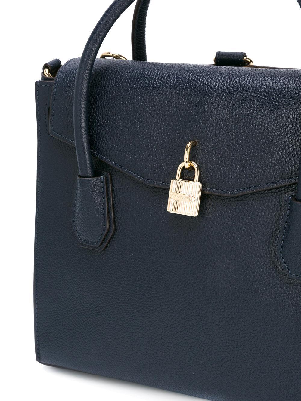lyst michael kors large mercer tote bag in blue. Black Bedroom Furniture Sets. Home Design Ideas