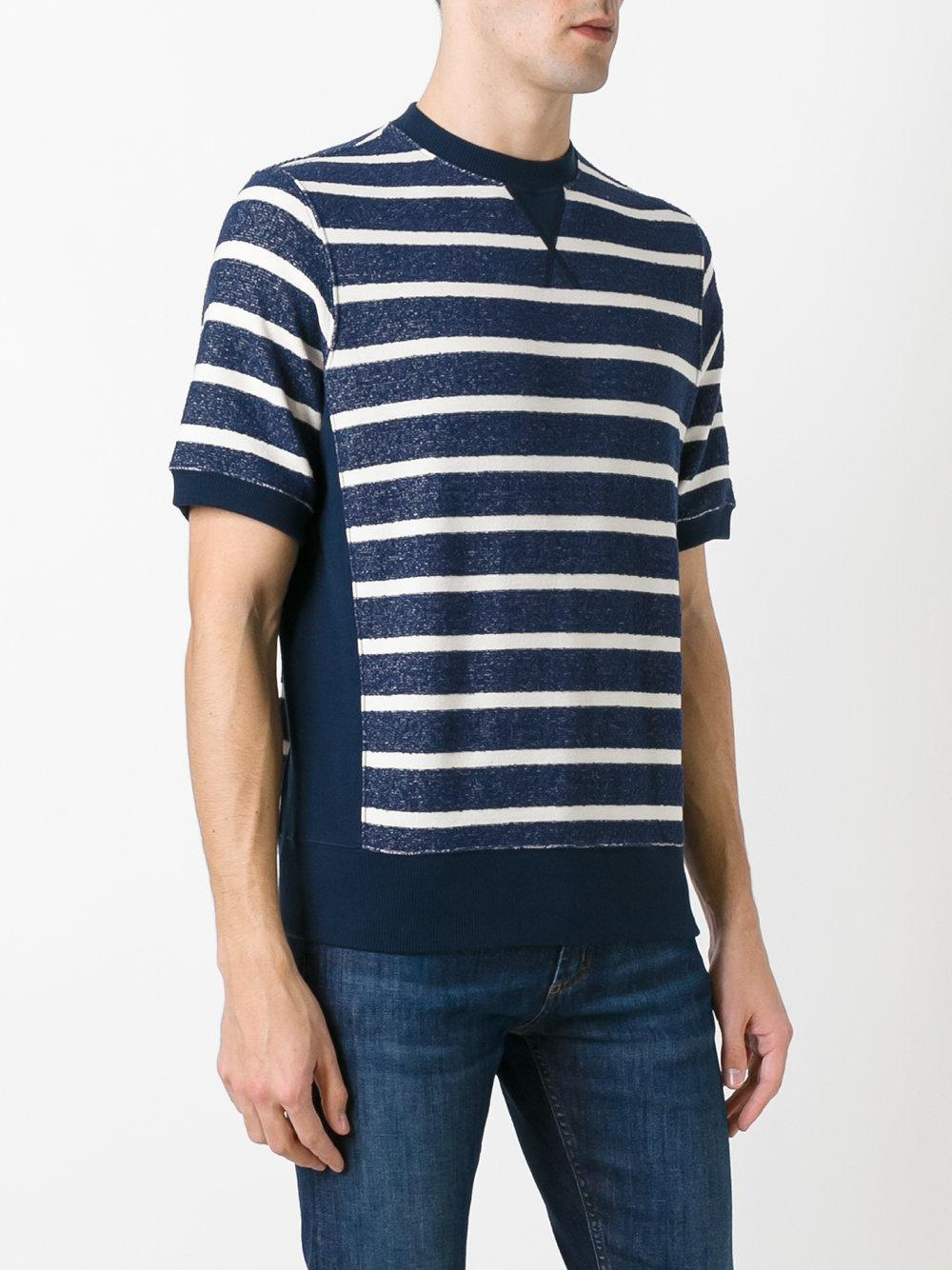 The gigi horizontal stripe sweater t shirt in blue for men for Horizontal striped dress shirts men