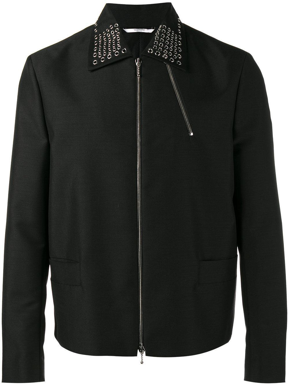 Valentino eyelet enbellished collar jacket in black for for Mens eyelet collar dress shirts