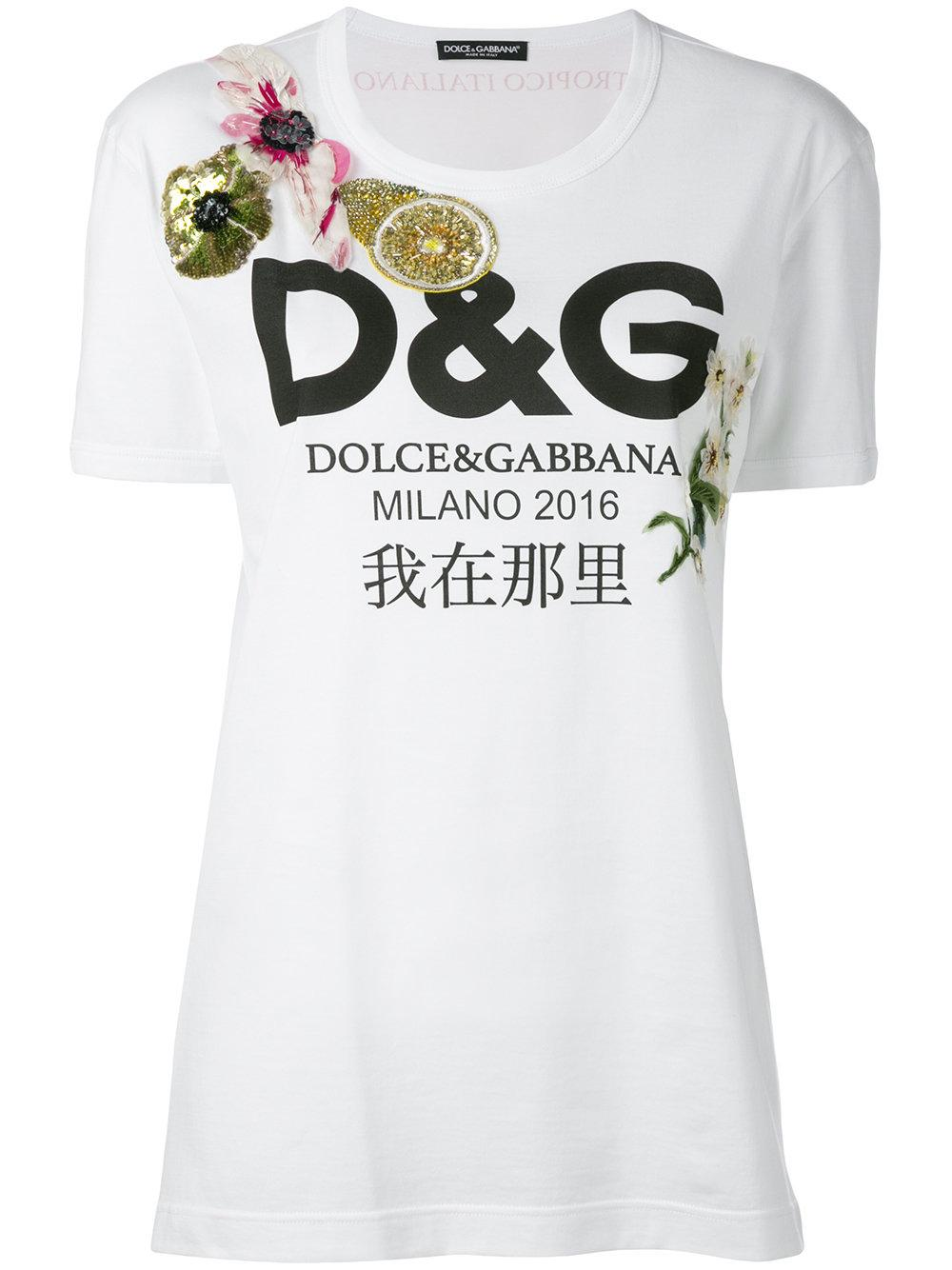 lyst dolce gabbana floral logo t shirt in white. Black Bedroom Furniture Sets. Home Design Ideas