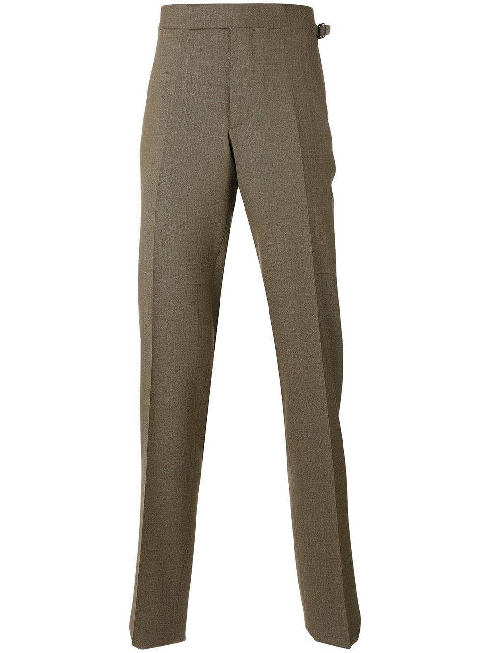Beige, brown and orange wool blend plaid slim tailored trousers from Pt01 featuring a mid rise, a waistband with belt loops, a concealed front fastening, side pockets, rear welt pockets, a slim fit, a regular length and a plaid 10mins.ml: $