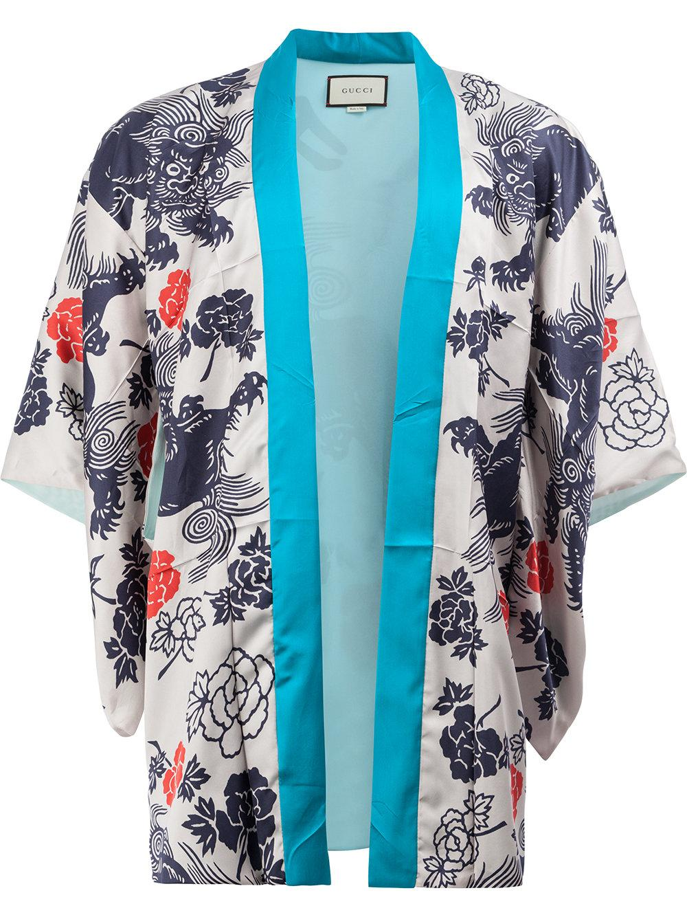 Gucci Japanese Print Kimono Jacket in Blue for Men | Lyst