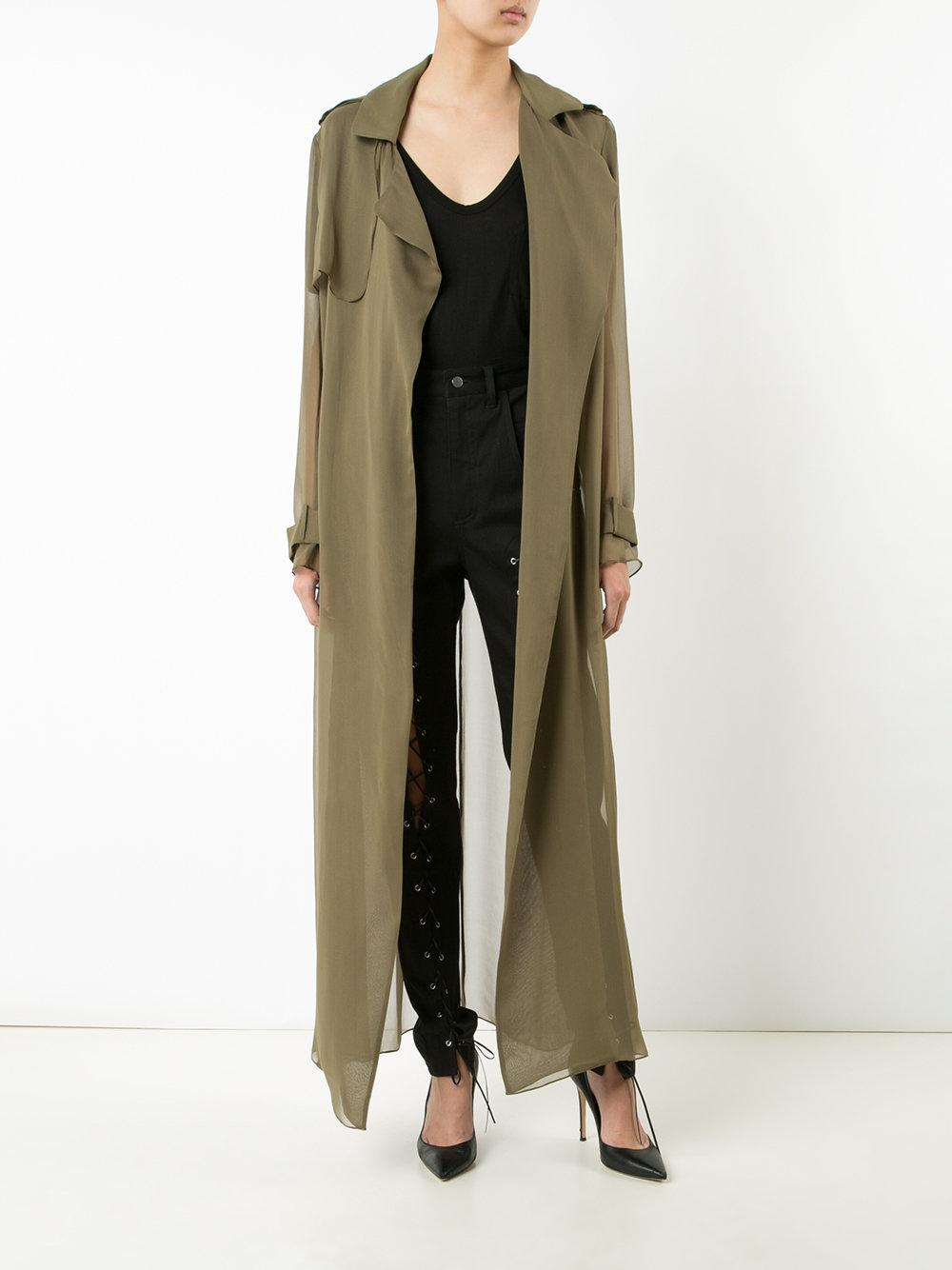 Lyst Sally Lapointe Sheer Trench Jacket In Green