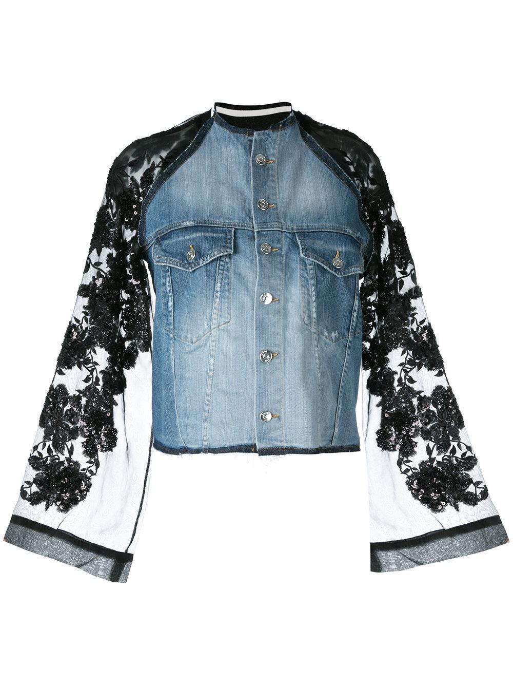 Lyst - Aviu Lace-Sleeve Denim Jacket In Blue-1429