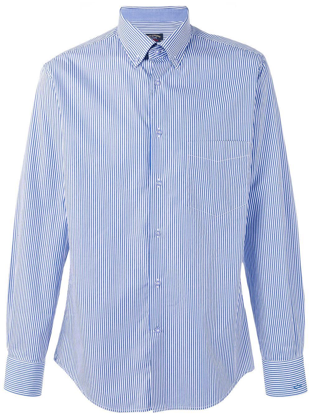 Paul Shark Striped Shirt In Blue For Men Lyst