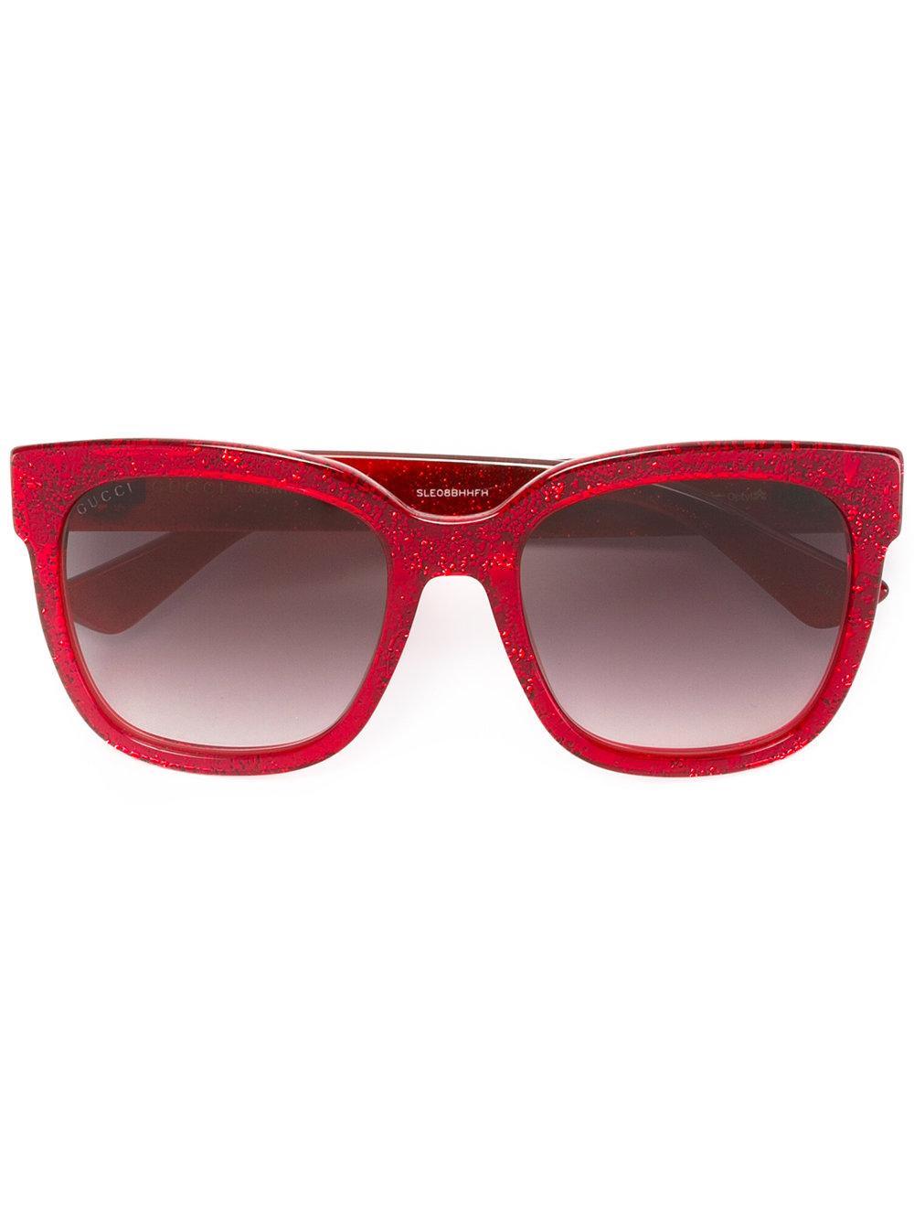 Gucci Square Frame Glitter Sunglasses in Red Lyst
