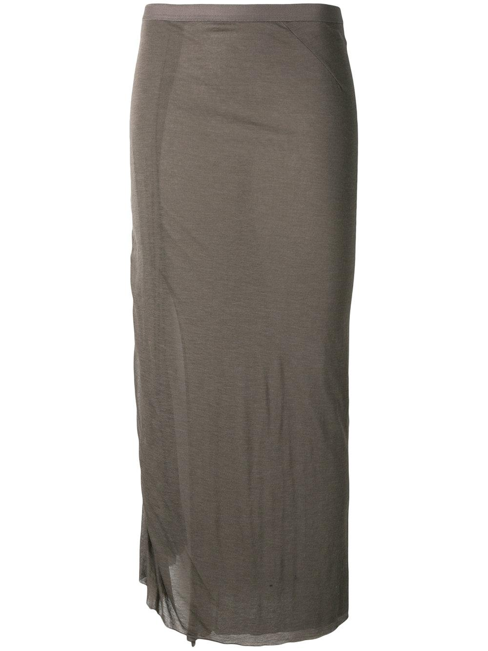 rick owens lilies fitted midi skirt in brown lyst