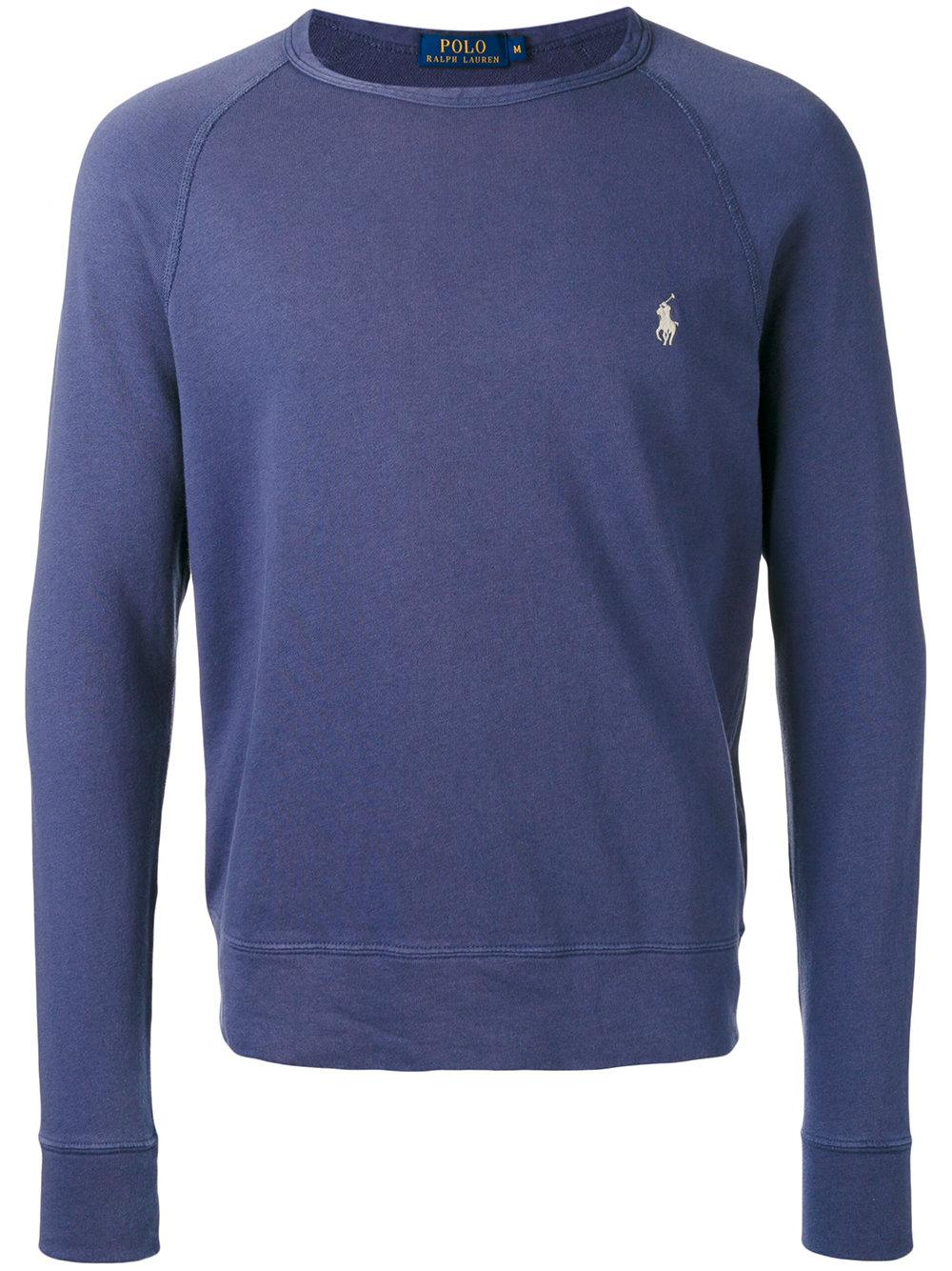 polo ralph lauren logo embroidered sweatshirt in blue for men lyst. Black Bedroom Furniture Sets. Home Design Ideas