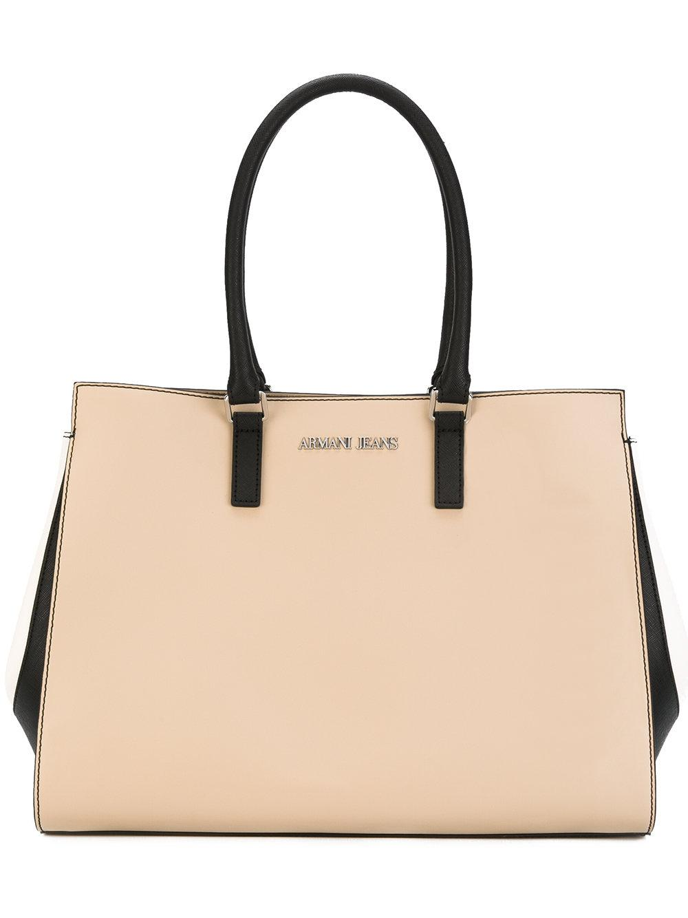 2ce9cce33a09 Lyst - Armani Jeans Logo Plaque Tote in Natural