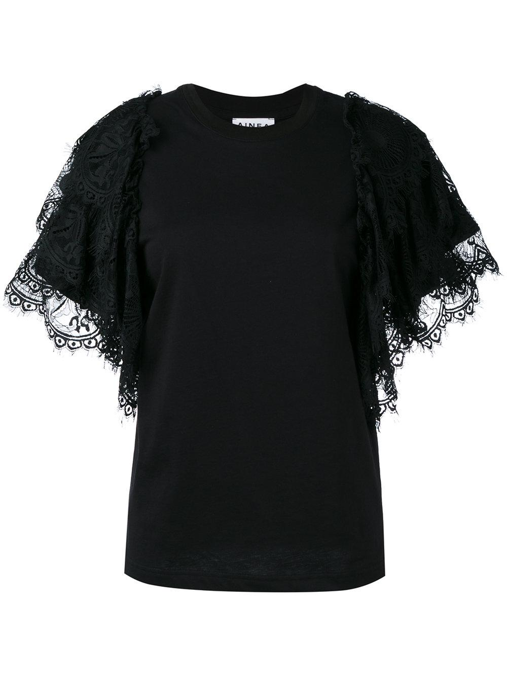 Ainea ruffle sleeve t shirt in black lyst for Frill sleeve t shirt