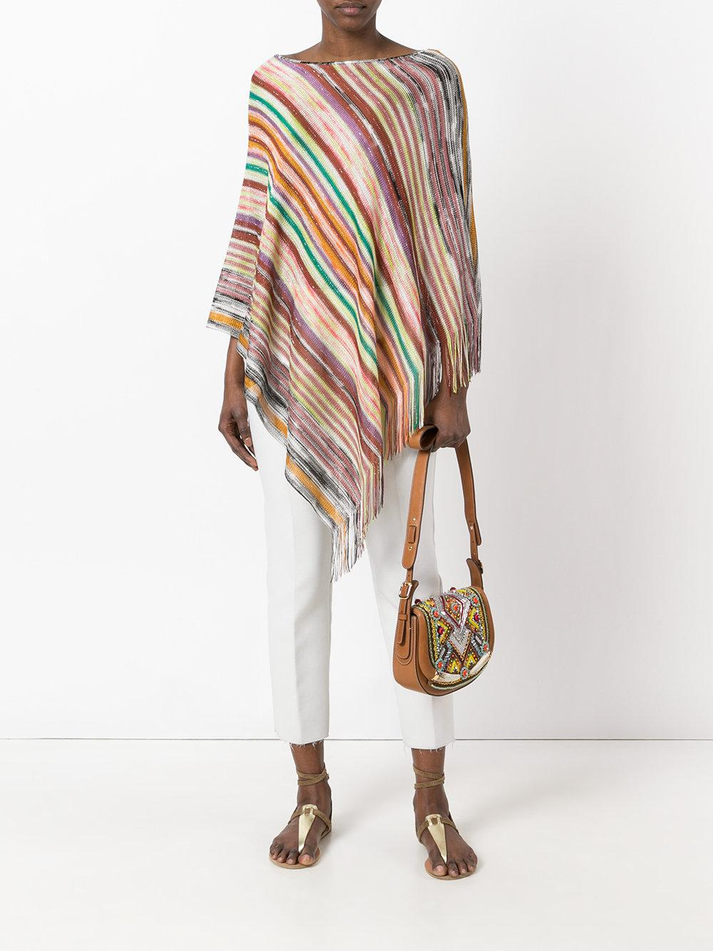 Knitting Pattern Striped Poncho : Missoni Striped Knitted Poncho Lyst