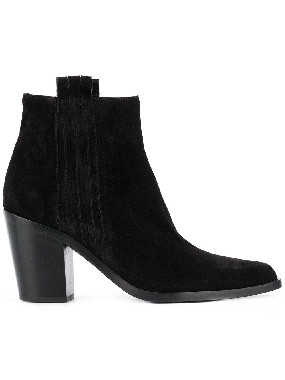 sartore mid heel ankle boots in black lyst