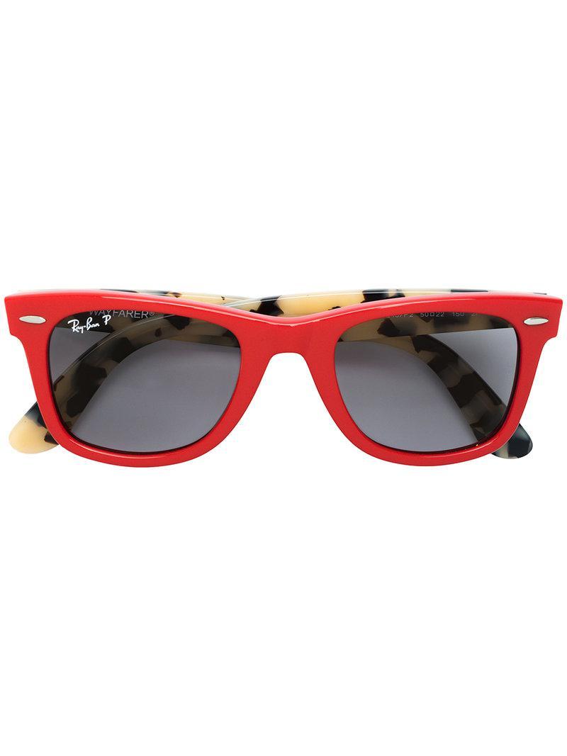 56702fe4c8db0 Ray-Ban Wayfarer Polarized Sunglasses in Red - Lyst