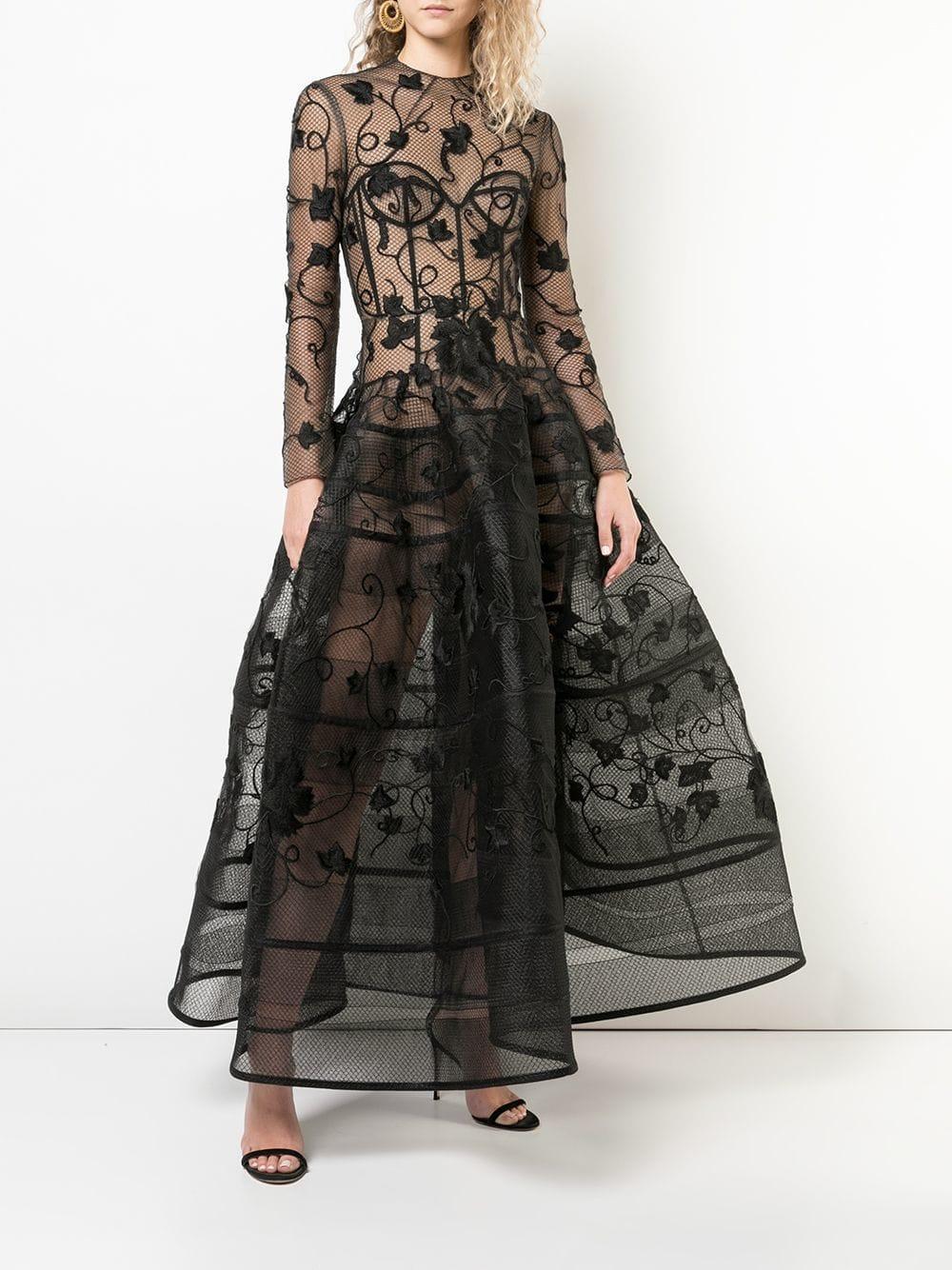 e7d0099a785 Lyst - Oscar de la Renta Floral Embroidered Gown in Black - Save 29%