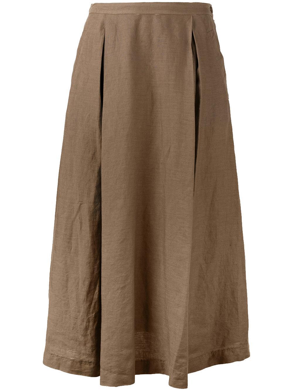 aspesi midi skirt in brown lyst