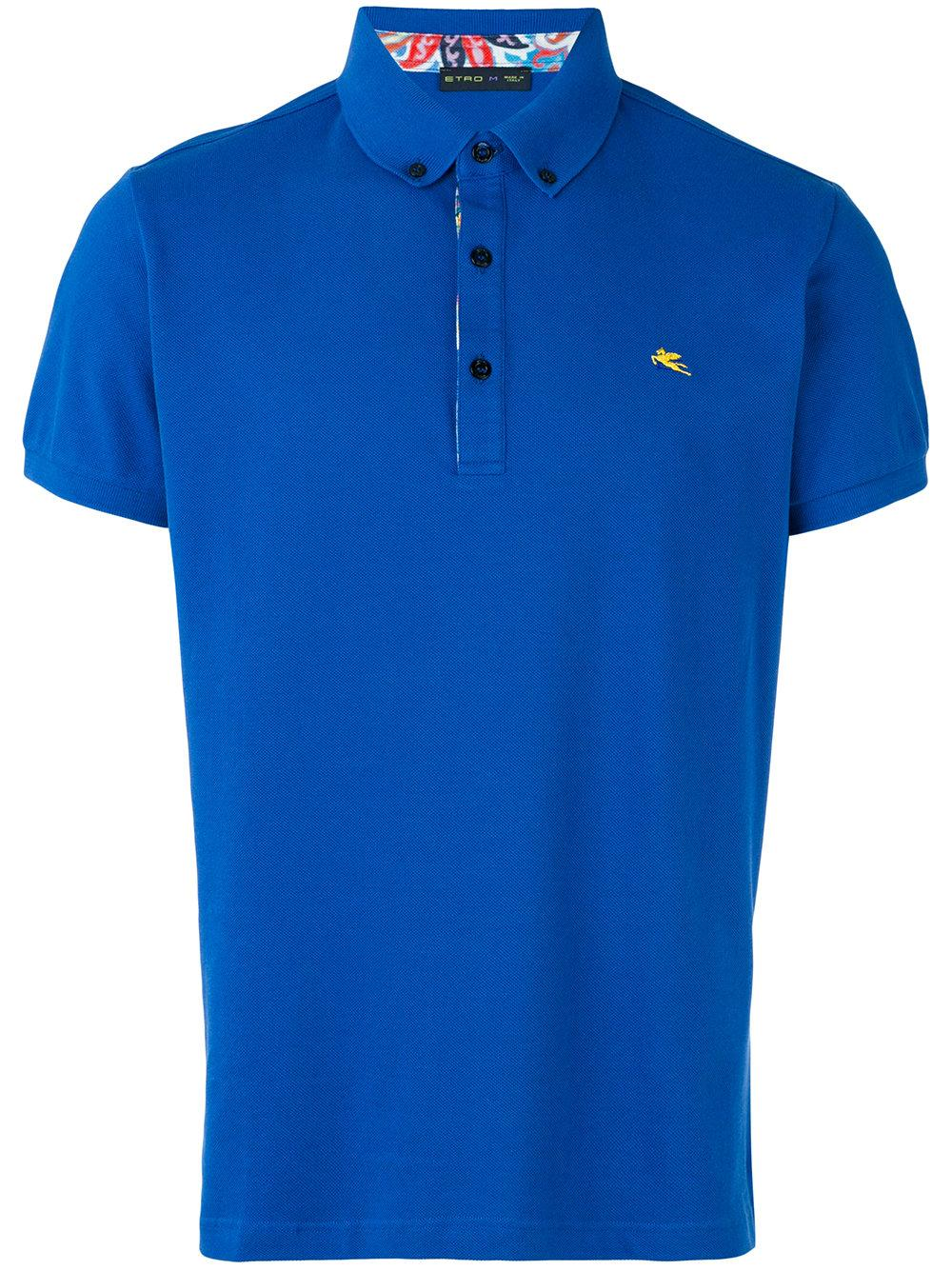 Etro Logo Embroidered Polo Shirt In Blue For Men  Lyst