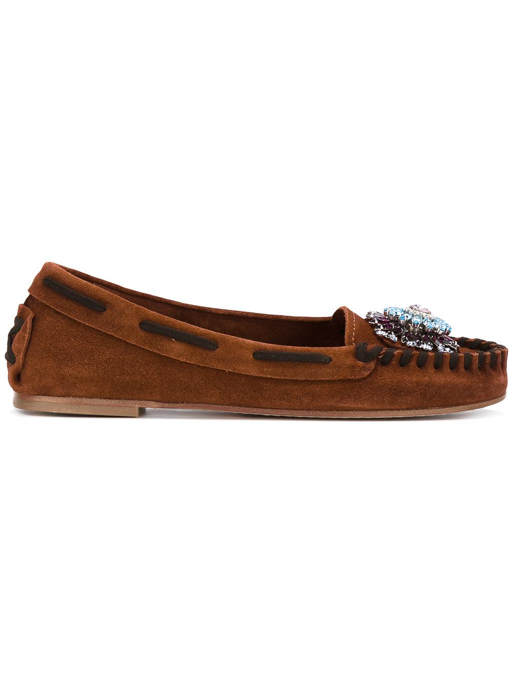 1e6fb2577ed Miu Miu - Flower Detail Loafers - Women - Leather suede - 40 in ...