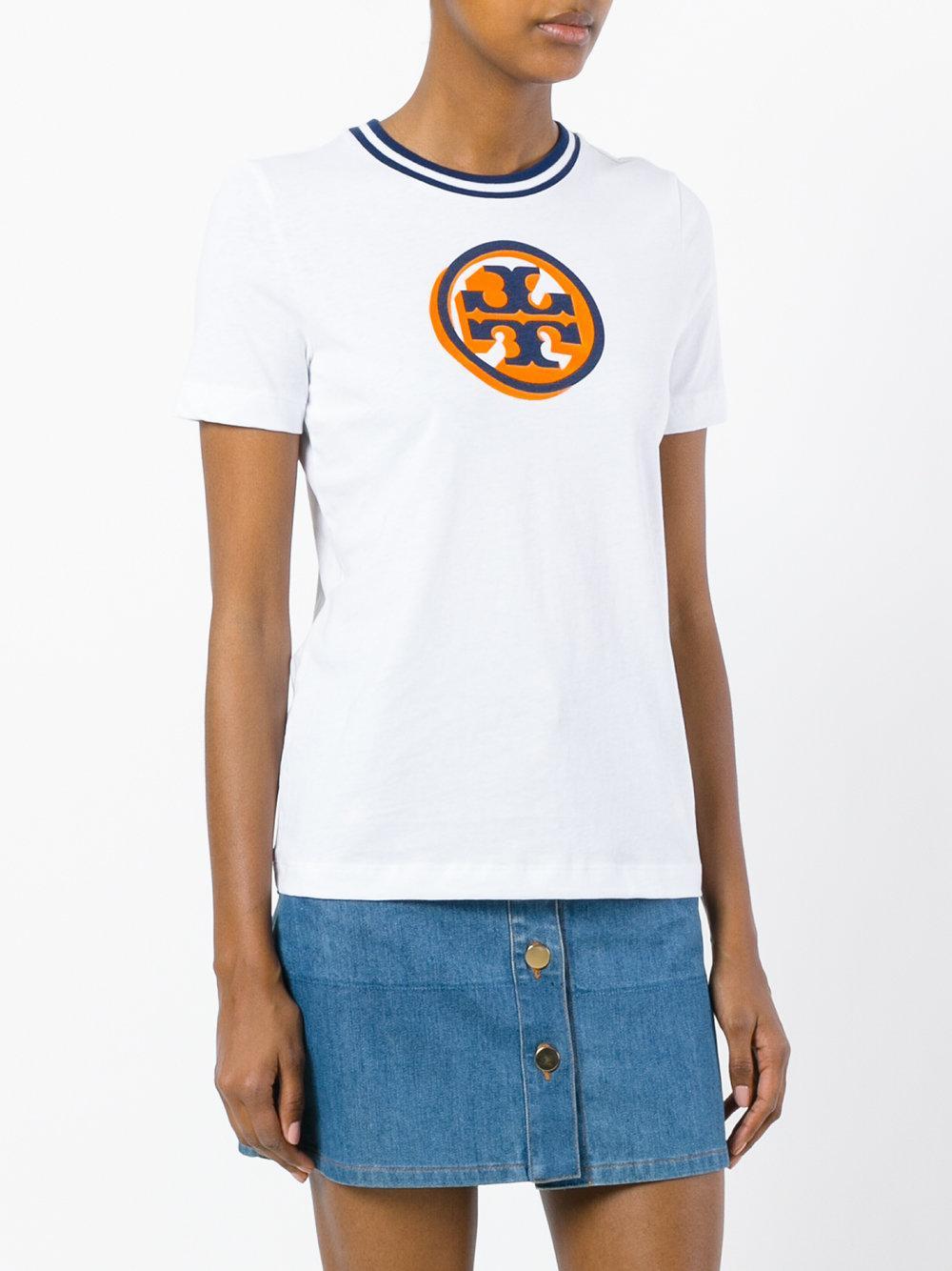 Lyst tory burch malibu logo t shirt in white for Tory burch t shirt