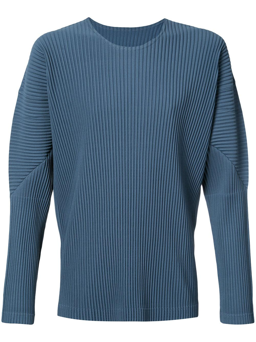 homme pliss issey miyake long sleeve t shirt in blue for men lyst. Black Bedroom Furniture Sets. Home Design Ideas
