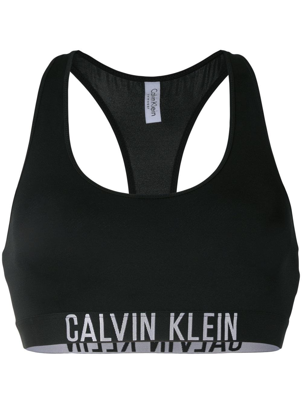 calvin klein racer crop bikini top in black lyst. Black Bedroom Furniture Sets. Home Design Ideas