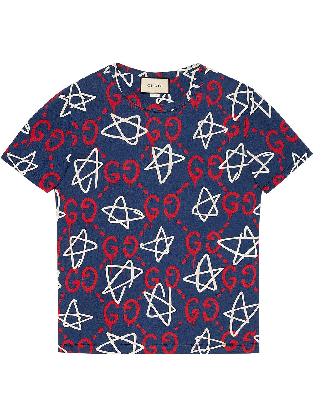 5a37fb0bb Gucci Ghost-print Crew-neck T-shirt in Blue for Men - Lyst