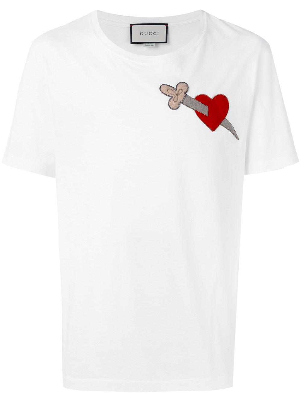eefd26bb Gucci Stabbed Heart T-shirt in White for Men - Lyst