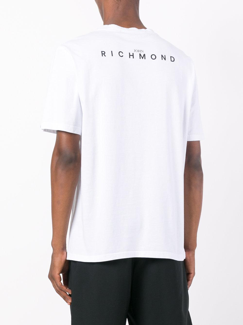 John richmond skull and flower print t shirt in white for for Richmond t shirt printing