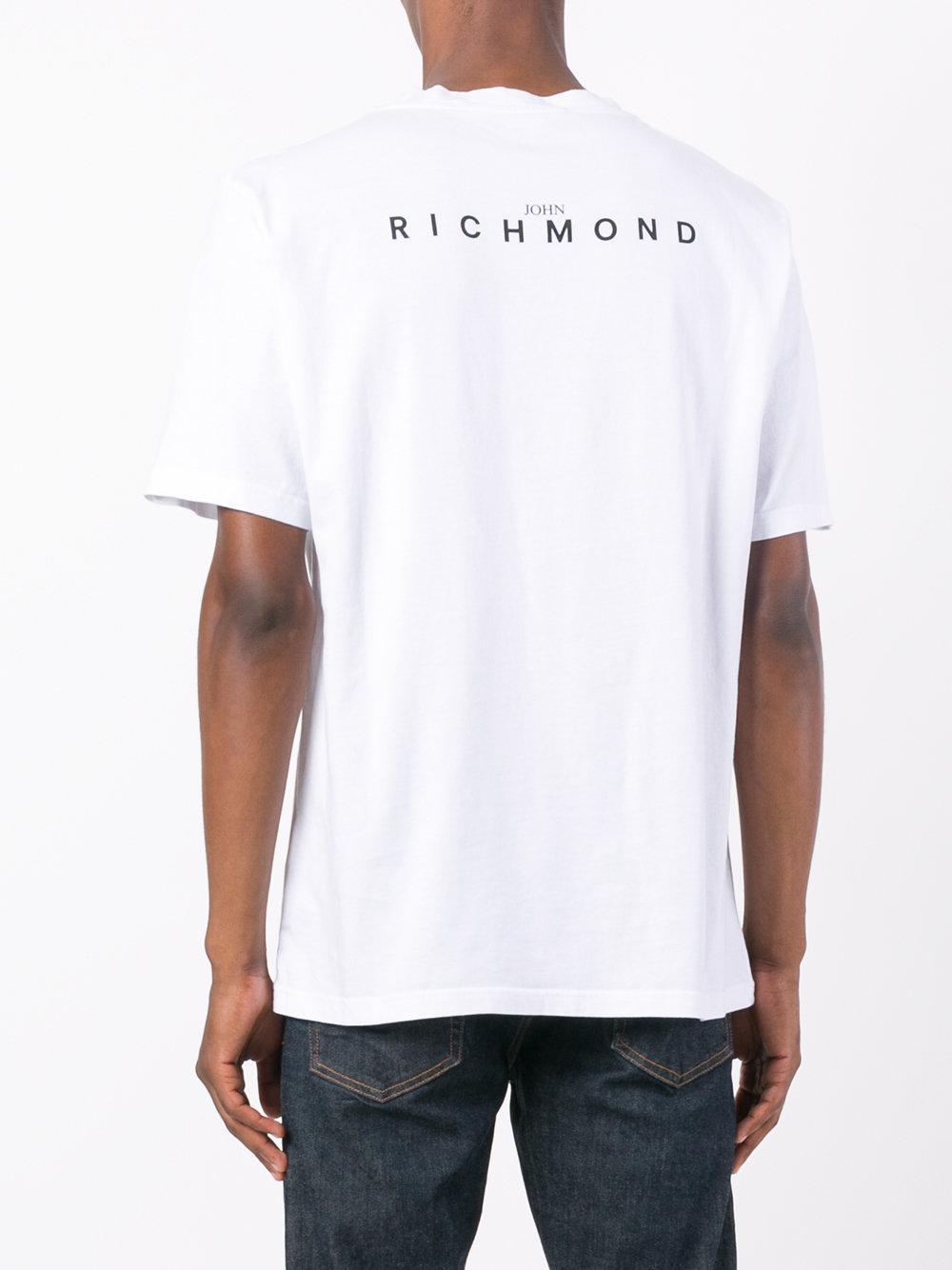 John richmond refind print t shirt in white for men lyst for Richmond t shirt printing
