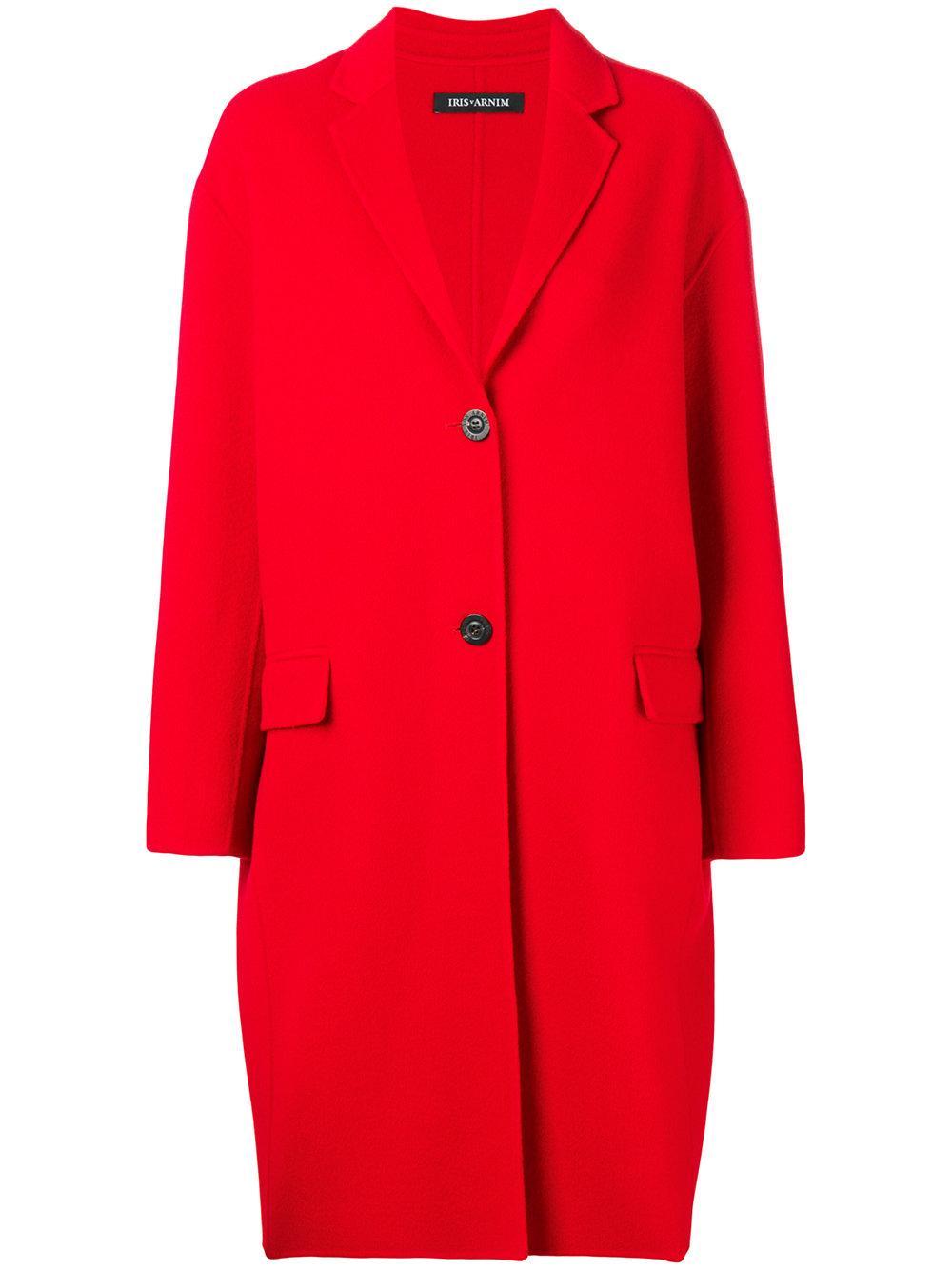 iris von arnim cocoon coat in red lyst. Black Bedroom Furniture Sets. Home Design Ideas