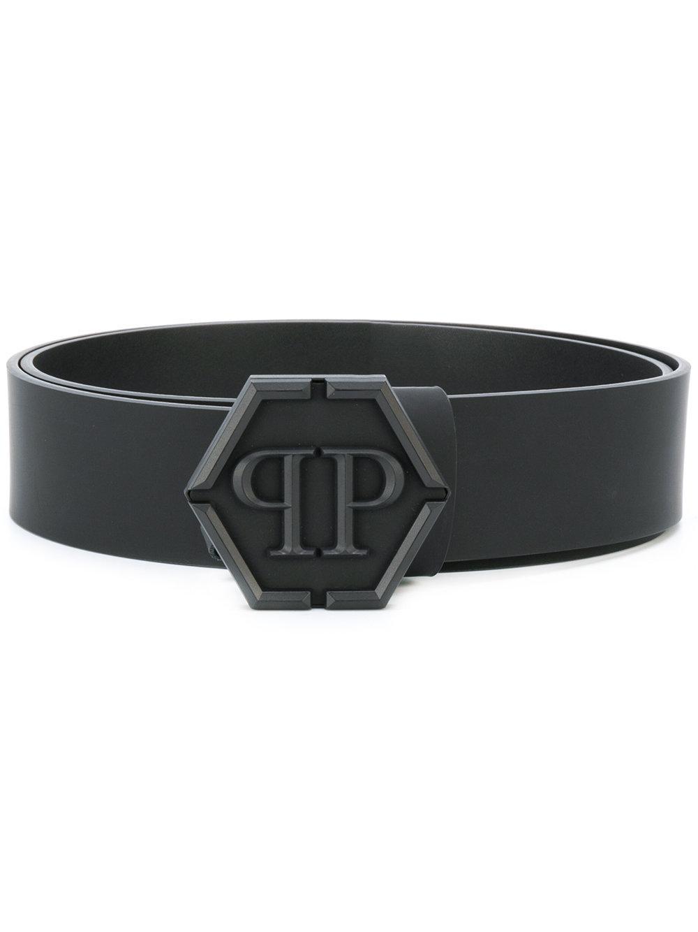 philipp plein hexagon buckle belt in black for men lyst. Black Bedroom Furniture Sets. Home Design Ideas
