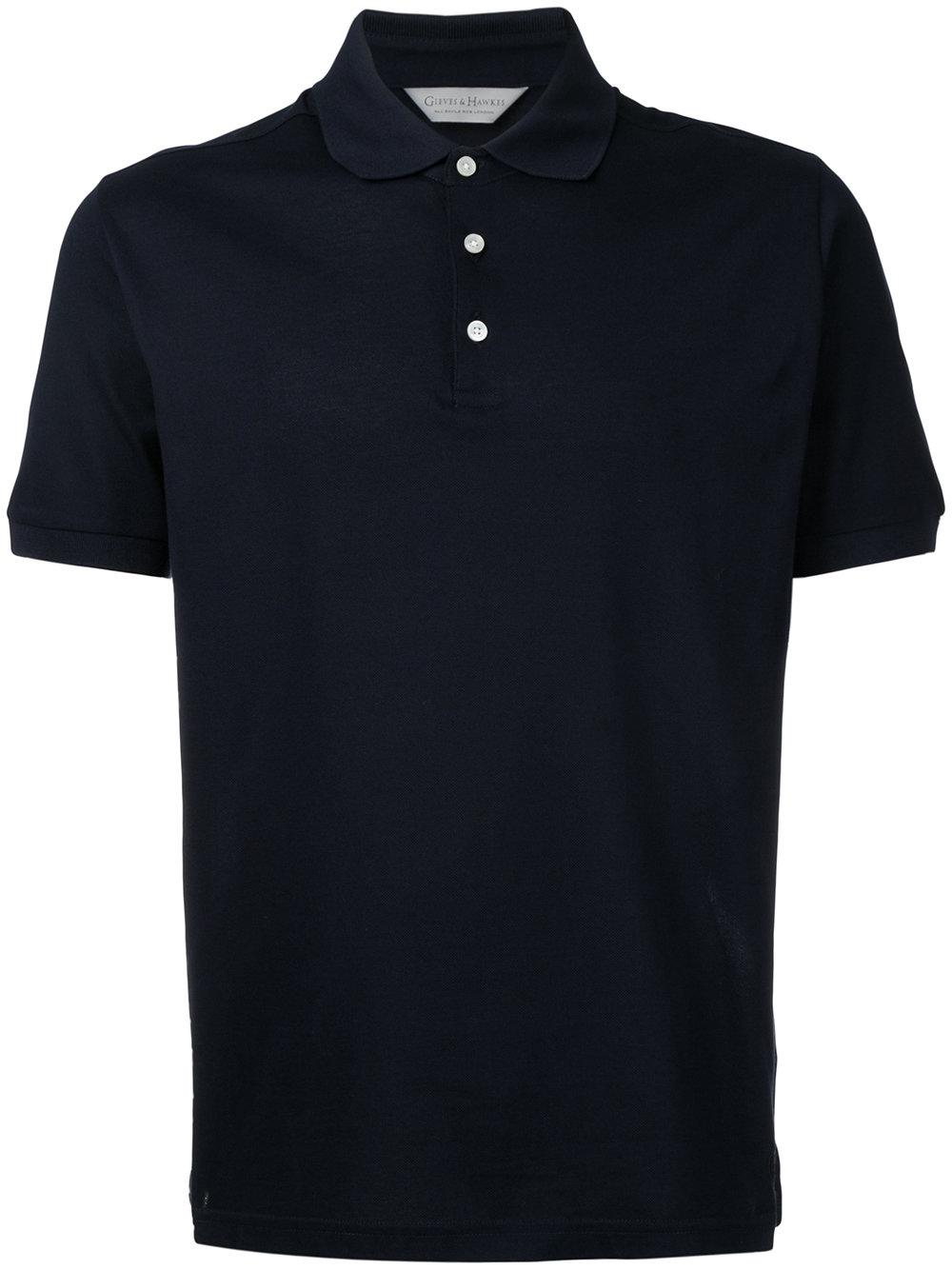 Lyst gieves hawkes button up polo shirt in blue for men for Womens button up polo shirts