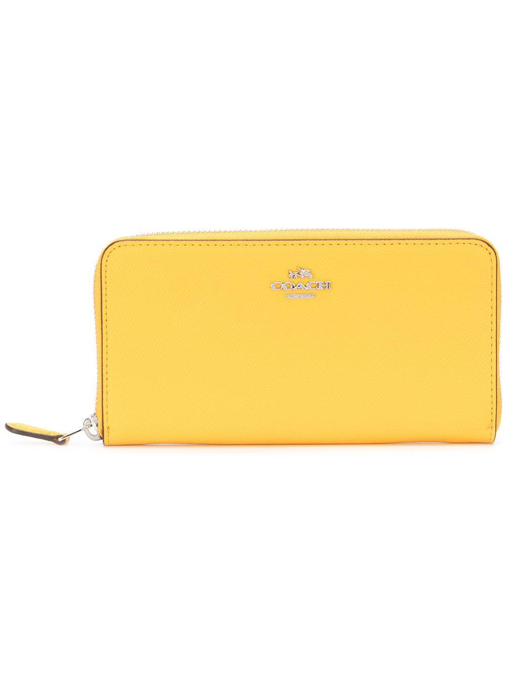 ed43cffbb6 COACH Accordion Zip Wallet in Yellow - Lyst