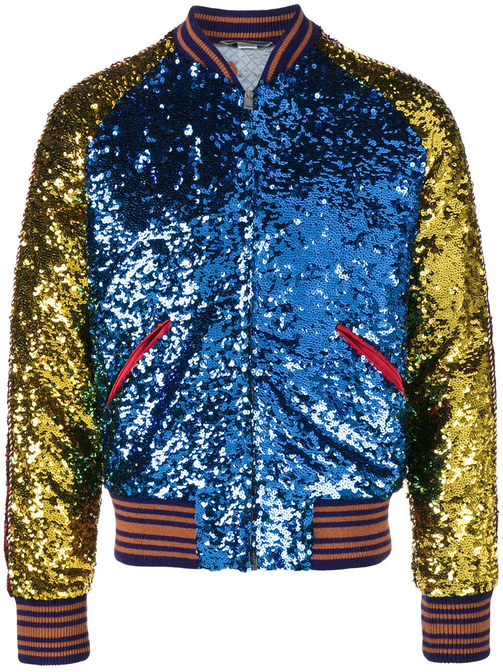 Gucci Loved Sequin Bomber Jacket In Blue For Men Lyst