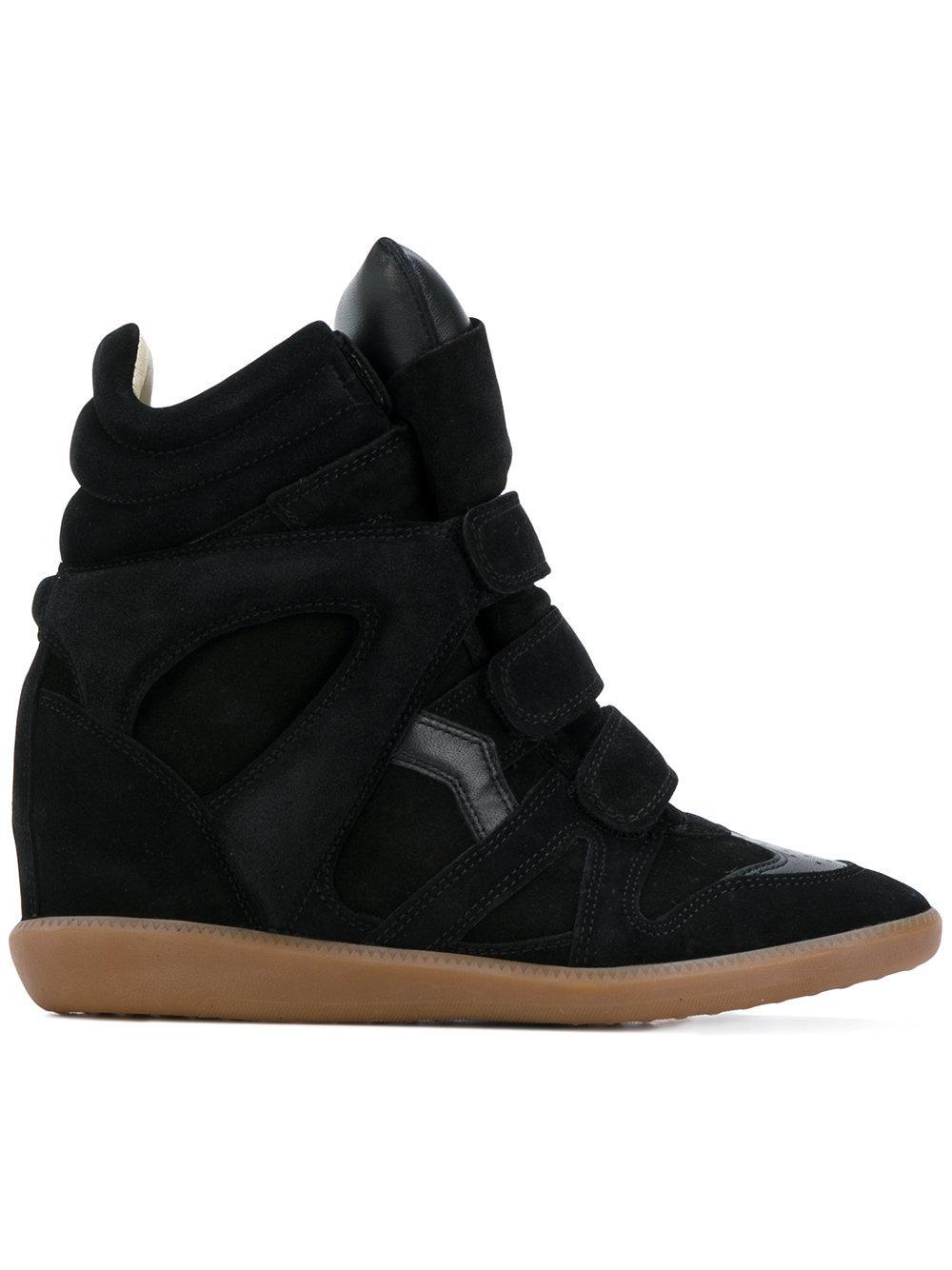 isabel marant black suede bekett wedge sneakers in black save 8 lyst. Black Bedroom Furniture Sets. Home Design Ideas