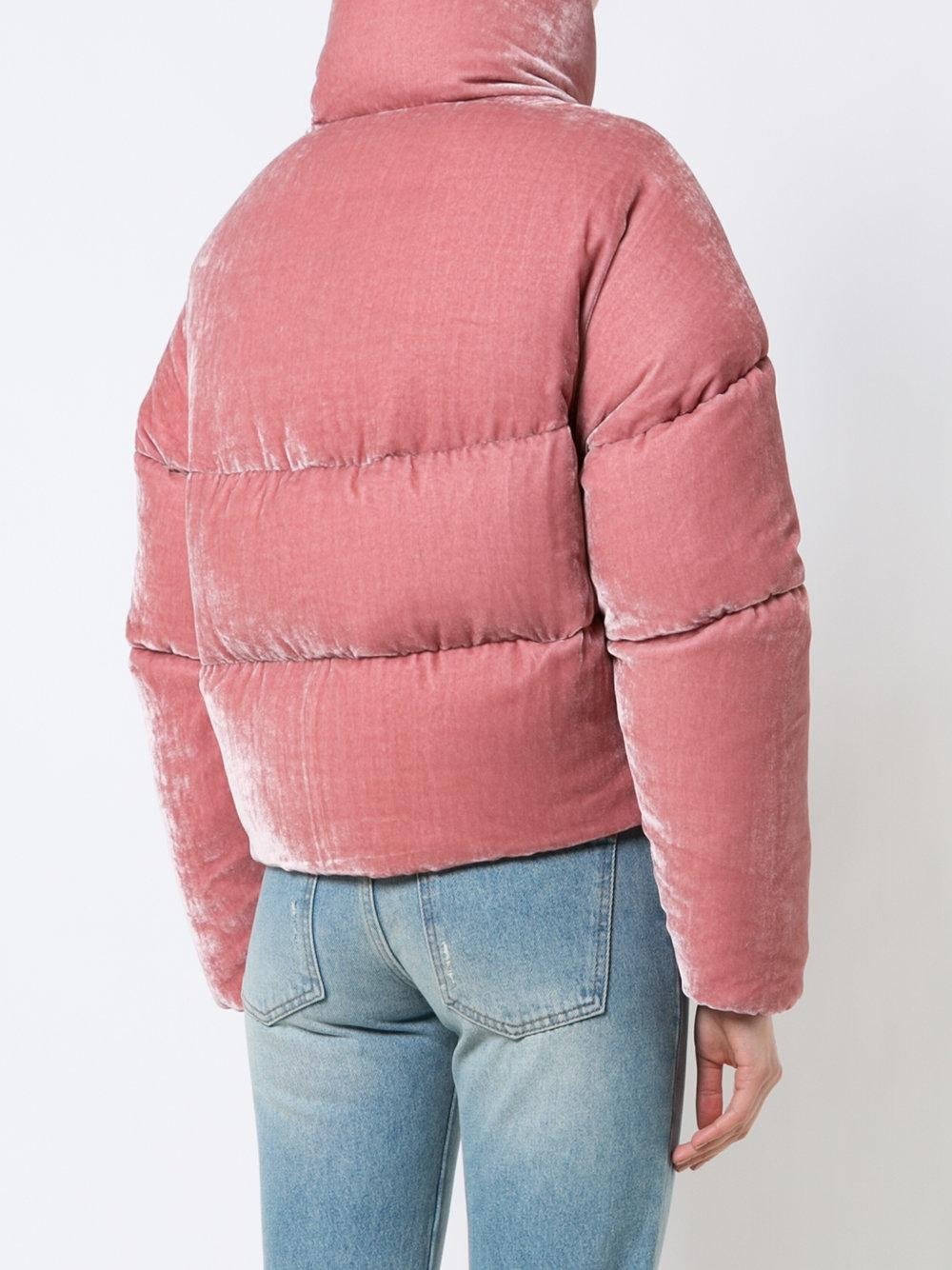 Moncler Cropped Velvet Puffer Jacket In Pink Lyst