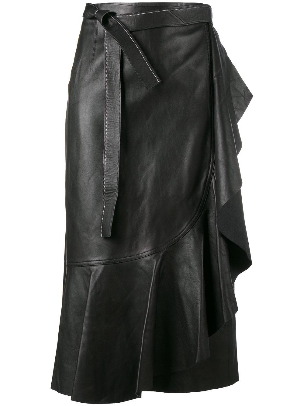 helmut lang wraparound leather skirt in black lyst
