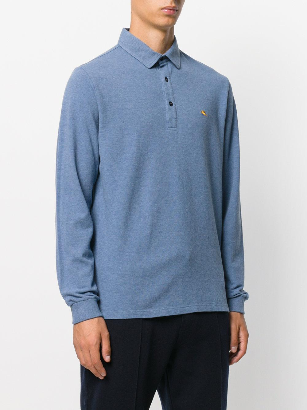 Lyst etro longsleeved polo shirt in blue for men for Etro men s shirts